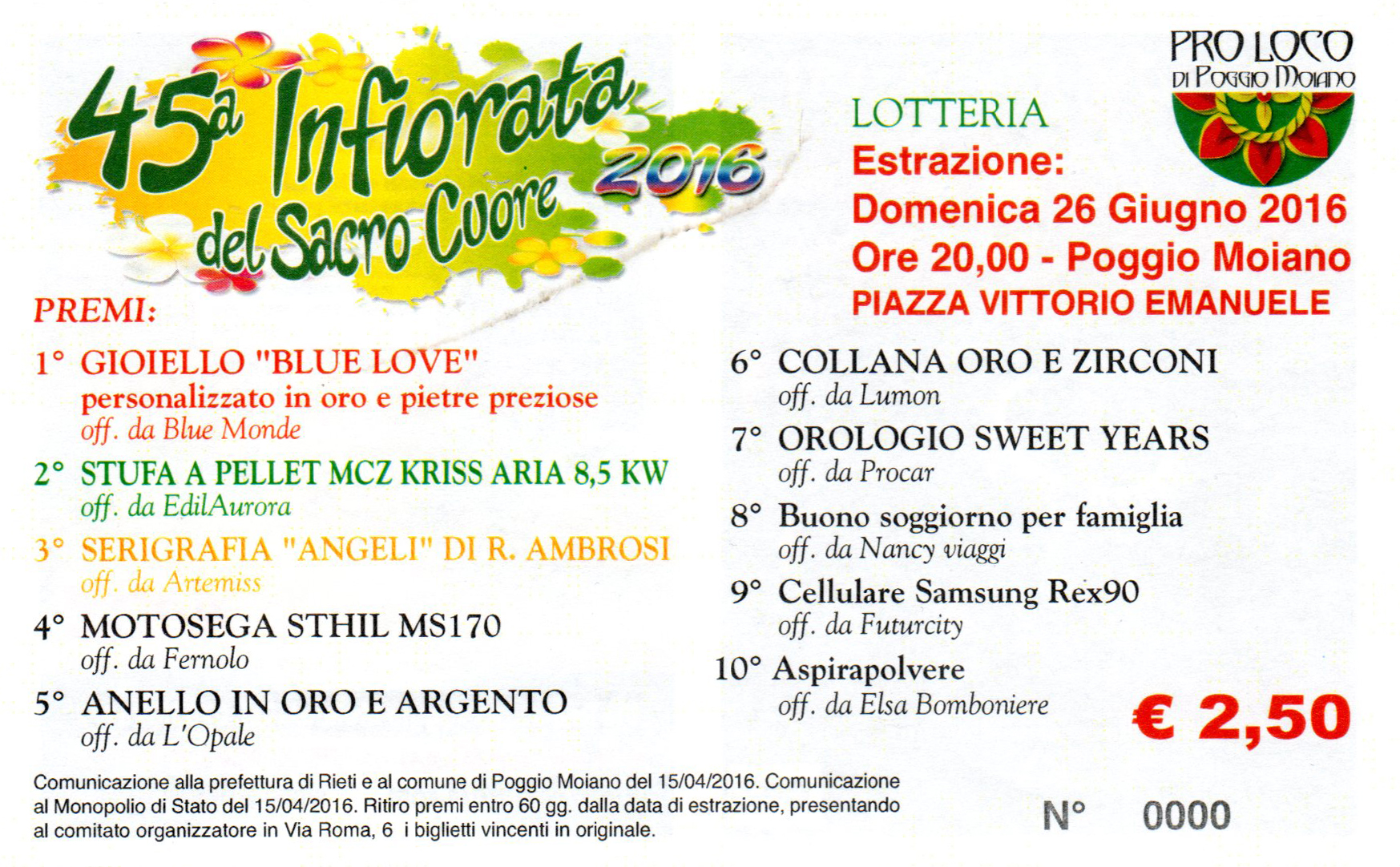 Lotteria Infiorata 2016 - Poggio Moiano