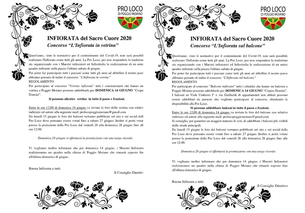 Locandine con la descrizione dei concorsi per Infiorata 2020 a Poggio Moiano